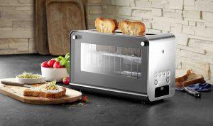 """Der WMF Lono Glas-Toaster wurde von der Redaktion des Online-Testportals """"Technik zu Hause"""" als """"Produkt des Jahres 2020/2021"""" in der Kategorie """"Langschlitz-Toaster"""" ausgezeichnet. Basis dieser """"Highlight-Produkt-Liste"""" waren die Testergebnisse des letzten Jahres. In einem solchen Produkttest hatte der WMF Lono Glas-Toaster mit der Gesamtnote """"sehr gut"""" (1,0) abgeschlossen."""
