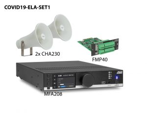 Tremtec AV bietet zur korrekten Umsetzung der Covid-19 Schutzmaßnahmen ELA-Sets in zwei Varianten.