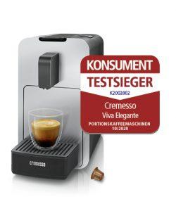 Die Cremesso Viva Elegante setzt sich im Konsument-Test gegen neun Kapsel- und Pad-Konkurrenten durch.