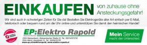 Zu den Marketing-Sofortmaßnahmen gehört u.a. eine österreichweite Einschaltung in den Regionalmedien (RMA) – für jeden EP:Markenhändler individualisiert (im Bild als Beispiel EP:Rapold).