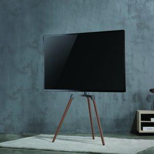 Was aussieht wie eine Holz-Staffelei ist der neue Nedis-Standfuß für 50 bis 60 Zoll TVs.