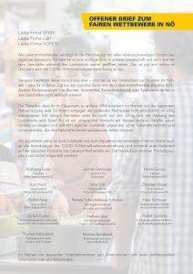 In einem offenen Brief an SPAR, Lidl und HOFER fordern zahlreiche Vertreter der niederösterreichischen Wirtschaft und Politik die Beschränkung des Sortiments der Handelsriesen.