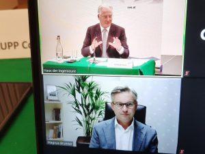 OVE-Präsident Kari Kapsch und Staatssekretär Magnus Brunner im Rahmen der erstmals online abgehaltenen OVE-Generalversammlung.