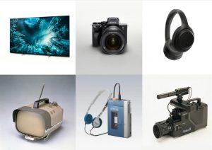Highlihgts aus 60 Jahren Sony in Europa: Vom ersten tragbaren Transistor-Fernseher TV8-301, über den Walkman, hin zu den heutigen Stars wie den ZH8, der Sony Alpha 7S oder den WH-1000XM4 Noise Cancelling-Kopfhörern.