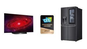 """Auch diesmal darf sich LG wieder über eine ganze Reihe an Auszeichnungen im Rahmen der CES freuen – allen voran """"Best of Innovation"""" Awards für LG OLED TV und den LG InstaView Door-in-Door Kühlschrank."""
