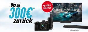 Noch bis Ende Februar erhalten Kunden beim Kauf von Fernsehern, Soundbars und Kameras von Panasonic bis zu 300 Euro zurück.