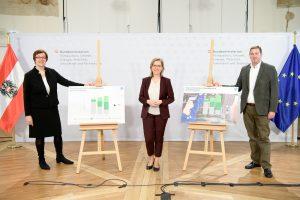 Theresia Vogel (li.), Leonore Gewessler und Wilfried Sihn bei der Präsentation der Studie.