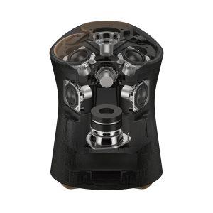 Der RA5000 ist darüber hinaus auch High-Resolution Audio zertifiziert und ermöglicht dadurch eine Wiedergabe in hochauflösender Qualität. Er verfügt über drei nach oben abstrahlende Lautsprecher zur vertikalen Verbreitung der Klänge sowie drei mittig angeordnete Lautsprecher mit horizontaler Richtwirkung. Der RA5000 ist mit leistungsstarken Neodym-Magneten ausgestattet und besitzt eine Membran aus Mica-verstärkter Zellulose, die ihm Robustheit und Stabilität bei kompakter Größe verleiht. Ein ergänzender Subwoofer liefert satte, tiefe Bässe im gesamten Raum.