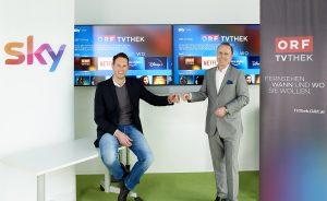 Michael Radesberger, Vice President Go to Market Strategy Sky Österreich und Mitglied des Sky Österreich Management Teams (li.), und Thomas Prantner, stv. ORF-Direktor für Technik, Online und neue Medien, präsentierten die erweiterte Kooperation.