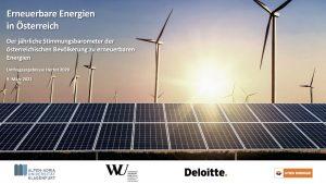 Der Studie zufolge bleiben erneuerbare Energien bei der heimischen Bevölkerung hoch im Kurs.