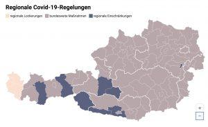 Eine neue Karte zeigt in sämtlichen Bezirken die Details zu den Corona-Maßnahmen.