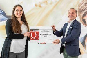 """Gorenje Austria wurde mit dem Great JOBS-Siegel """"TOP Arbeitgeber 2021"""" ausgezeichnet. Nur 10% der geprüften Unternehmen konnten dem strengen Kriterienkatalog der ÖGVS gerecht und zu TOP Arbeitgebern gekürt werden."""
