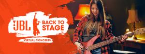 """Mit JBL gibt's die volle Packung Sound: Der Audiospezialist unterstützt mit """"JBL Back to Stage"""" Newcomer und lokale Acts und schickt sie auf die größtmögliche, Corona-konforme Bühne – direkt auf die Rechner, Fernseher und Mobilgeräte der Fans."""