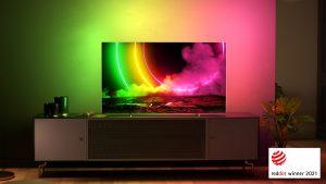 Ein Red Dot Award 2021 für hervorragendes Design ging an den Premium-High-End-Fernseher Philips OLED806.
