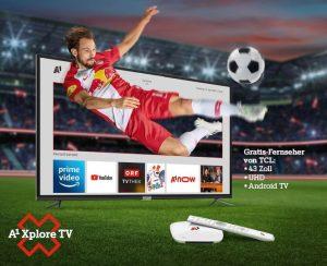 In Kombination mit A1 Xplore TV gibt es nun einen 43 Zoll UHD Android Smart TV von TCL gratis dazu.