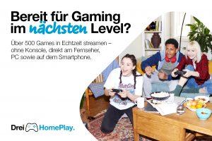 Drei startet mit Spielen aus der Cloud. Mit Drei HomePlay bietet der Betreiber mehr als 500 Spiele an.