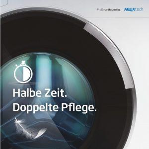 Zeit- und Energieersparnis bei perfekt gereinigter Wäsche – diese Botschaft stellt derzeit Beko in den Mittelpunkt seiner AquaTech-Kampagne.