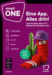 """Für den Launch von simpliONE setzt simpliTV auf einen neuen Markenauftritt: frischer, innovativer und mit rappender Socke. Der Slogan """"Eine App. Alles drin"""" bringt das neue Fernseherlebnis auf den Punkt."""