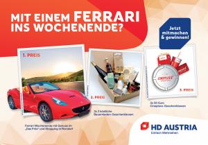Mit etwas Glück ein Ferrari Wochenende, Bauernladen-Geschenkboxen und Cineplexx-Gutscheine gewinnen.