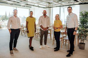 Das Projekt-Team hinter dem neuen City Store von IKEA am Wiener Westbahnhof: Rodolphe de Campos, Maimuna Mosser, Uwe Blümel, Johanna Cederlöf, Claudio Winkler (v.l.).