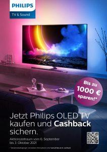 Am 6.9.21 geht's los mit der Philips OLED TV Cashback-Aktion. (Bild: TP Vision)