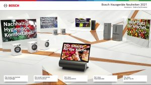 Von der Startbühne der virtuellen Plattform ausgehend, kann man tiefer in die Welt der einzelnen Gerätekategorien eintauchen und diese mit 3D-Darstellungen erleben.