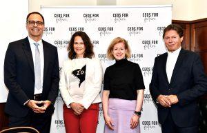 Berthold Kren (CEO LAFARGE Zementwerke GmbH), Christiane Brunner (Vorständin CEOs FOR FUTURE), Birgit Kraft-Kinz (Vorständin CEOs FOR FUTURE), Wolfgang Anzengruber (Vorstand CEOs FOR FUTURE) (v.l.n.r.) haben gemeinsam ein Positionspapier erarbeitet mit dem man eine CO2-Bepreisung für Unternehmen ab 2022 erreichen will.