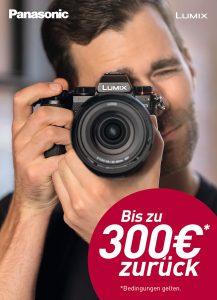 Mit der Lumix S Cashback-Aktion von Panasonic erhalten Kunden beim Kauf einer Vollformatkamera des LUMIX S-Systems bis zu 300 Euro zurückerstattet.
