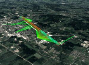 Beispiel eines Drohnen-Flugkorridors anhand eines Satelliten-Bilds.